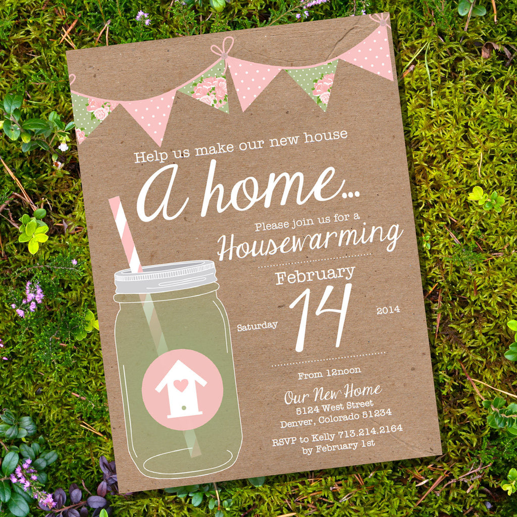 Shabby Chic Pink and Sage Housewarming Invitation