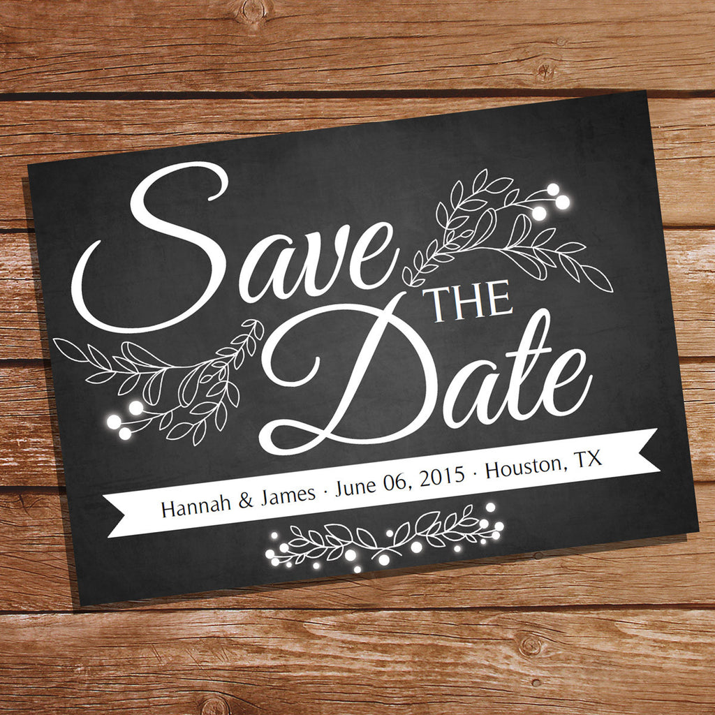 Chalkboard Save The Date Card Save The Date Wedding Stationery