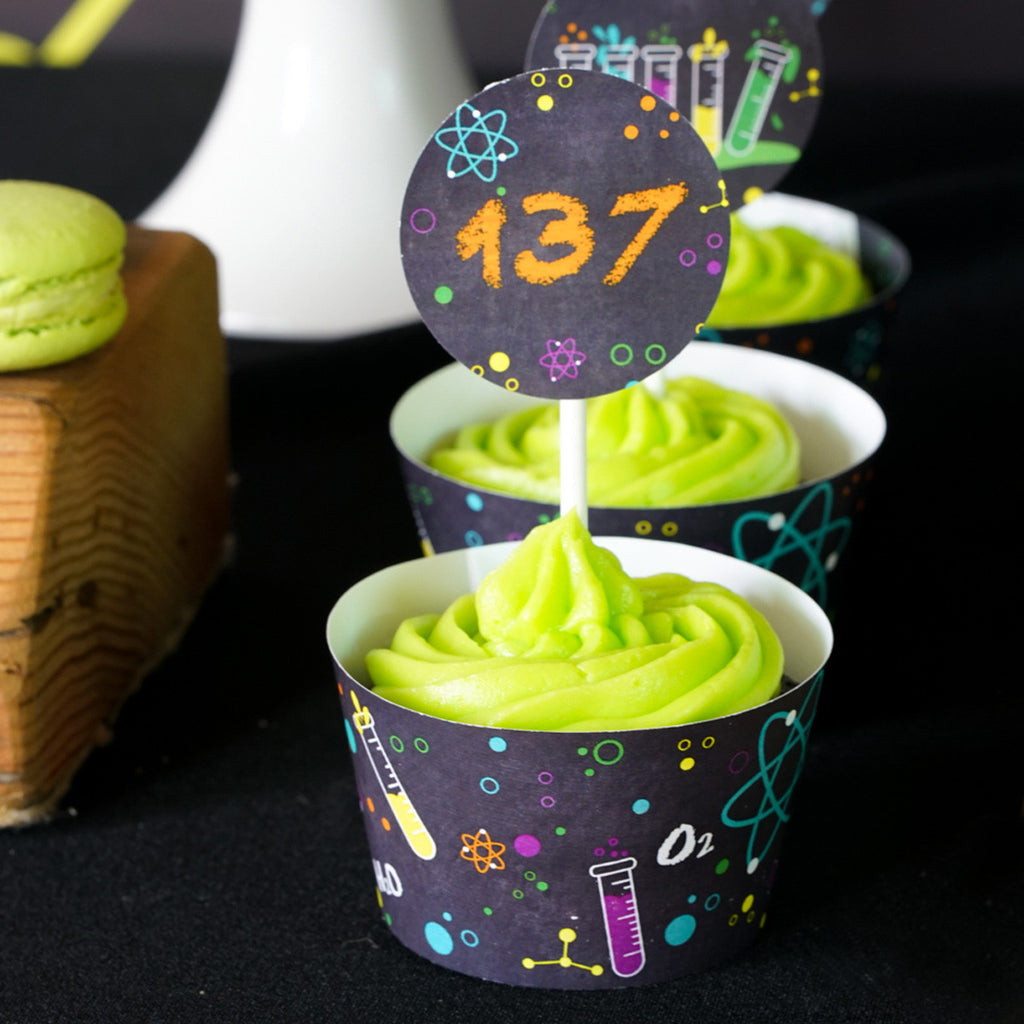 Science Experiment Party Cupcake Toppers | Mad Scientist Cupcake Wrappers