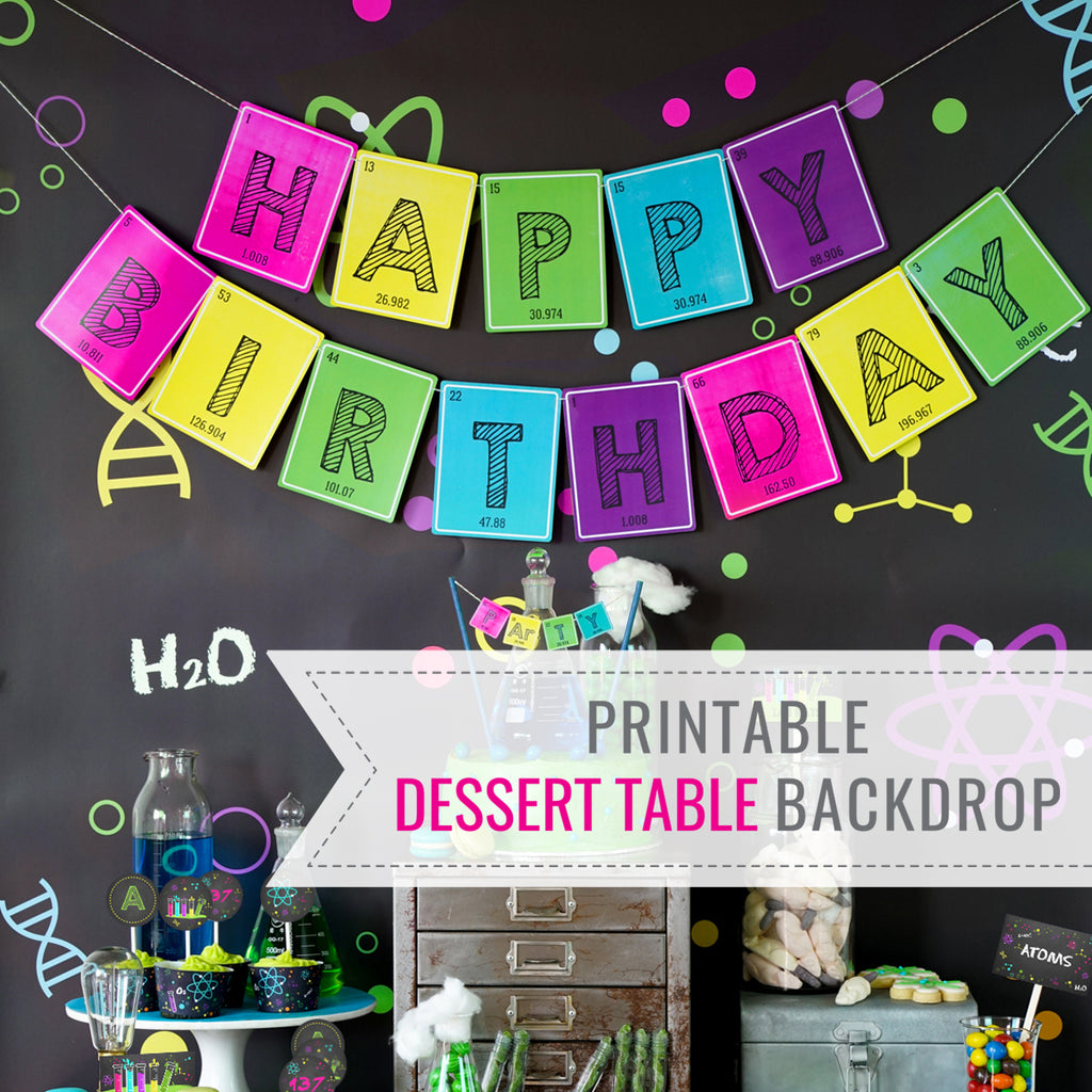 graphic relating to Printable Mad Science Sign referred to as Women Science Experiment Occasion Desk Backdrop Nuts Scientist Dessert Desk Backdrop Pop ofPink