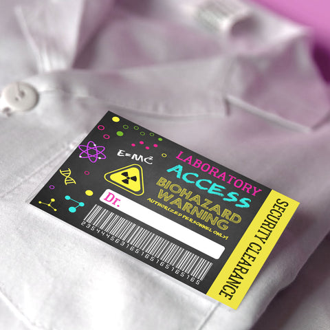 Girls Science Party Name Tag