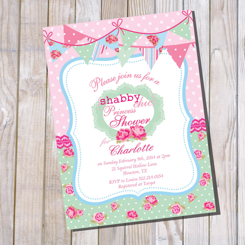 Shabby Chic Princess Baby Shower Invitation for a Girl