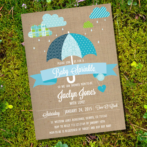Shabby Chic Sprinkle Baby Shower Invitation