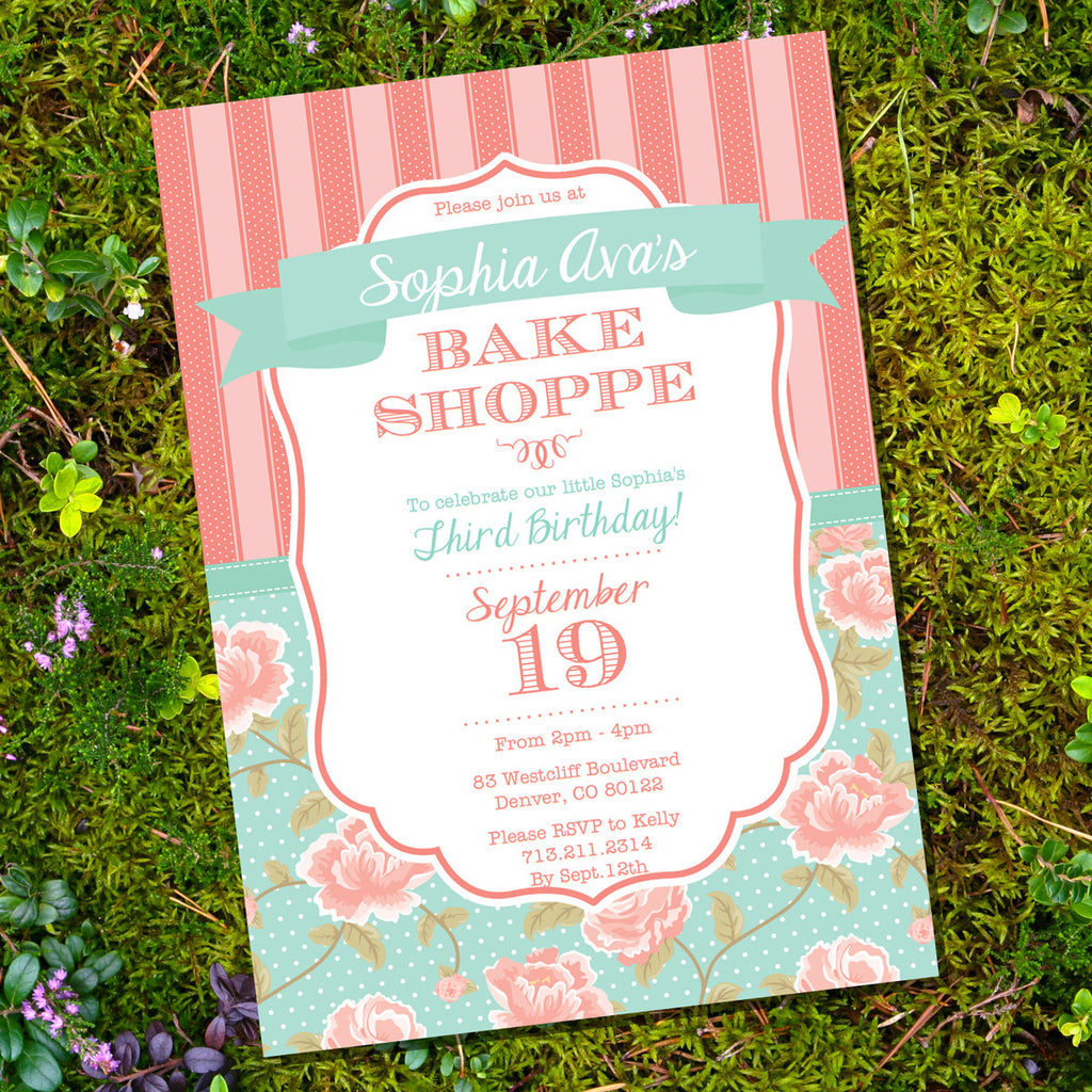 Bake Shoppe Party Invitation | Vintage Shabby Chic | Baking Party Invite