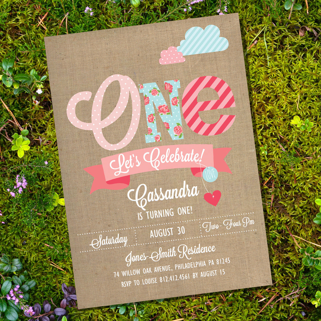 Shabby Chic First Birthday Party Invitation for a Girl