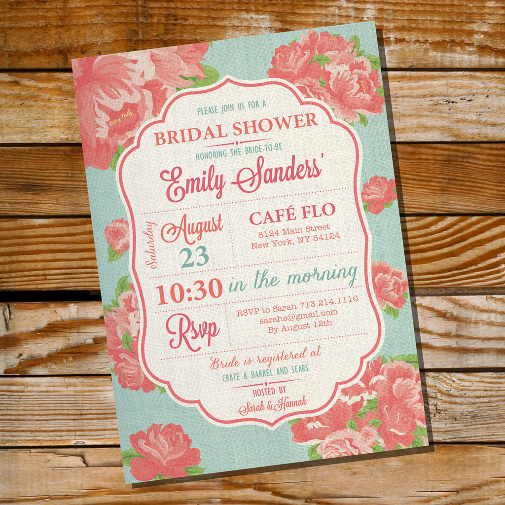 Shabby chic bridal shower invitation floral linen invitation how it works filmwisefo