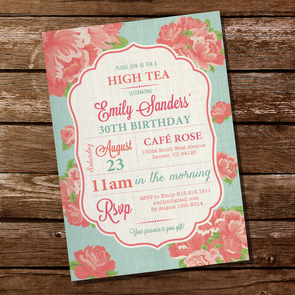 Shabby Chic High Tea Invitation | Floral Linen Invitation
