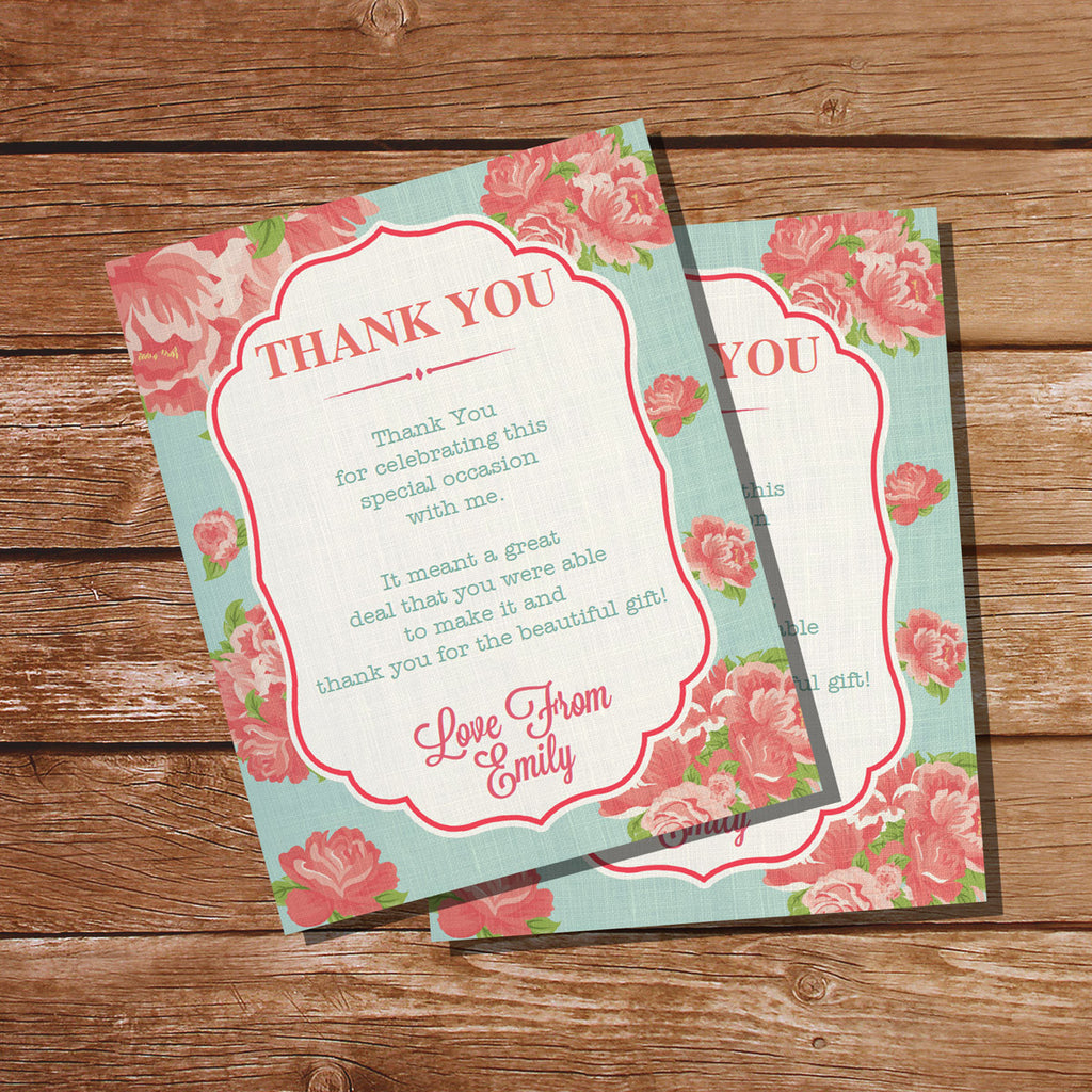 Shabby Chic Thank You Card | Floral Linen Favors