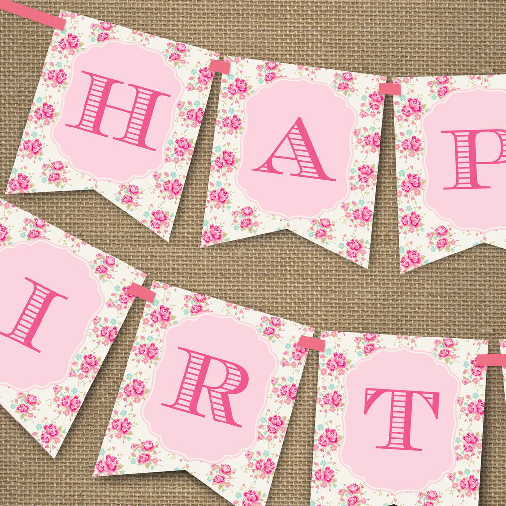 Shabby Chic Floral Happy Birthday Banner