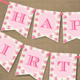 Shabby Chic Floral Birthday Party Birthday Banner