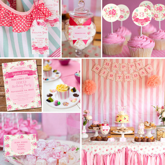 Shabby Chic Floral Birthday Party Decorations