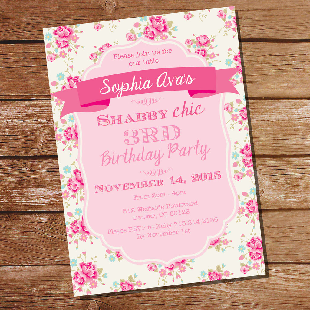 Shabby Chic Floral Birthday Party Invitation | Floral Invite ...