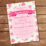 Shabby Chic Floral Birthday Party Invitation