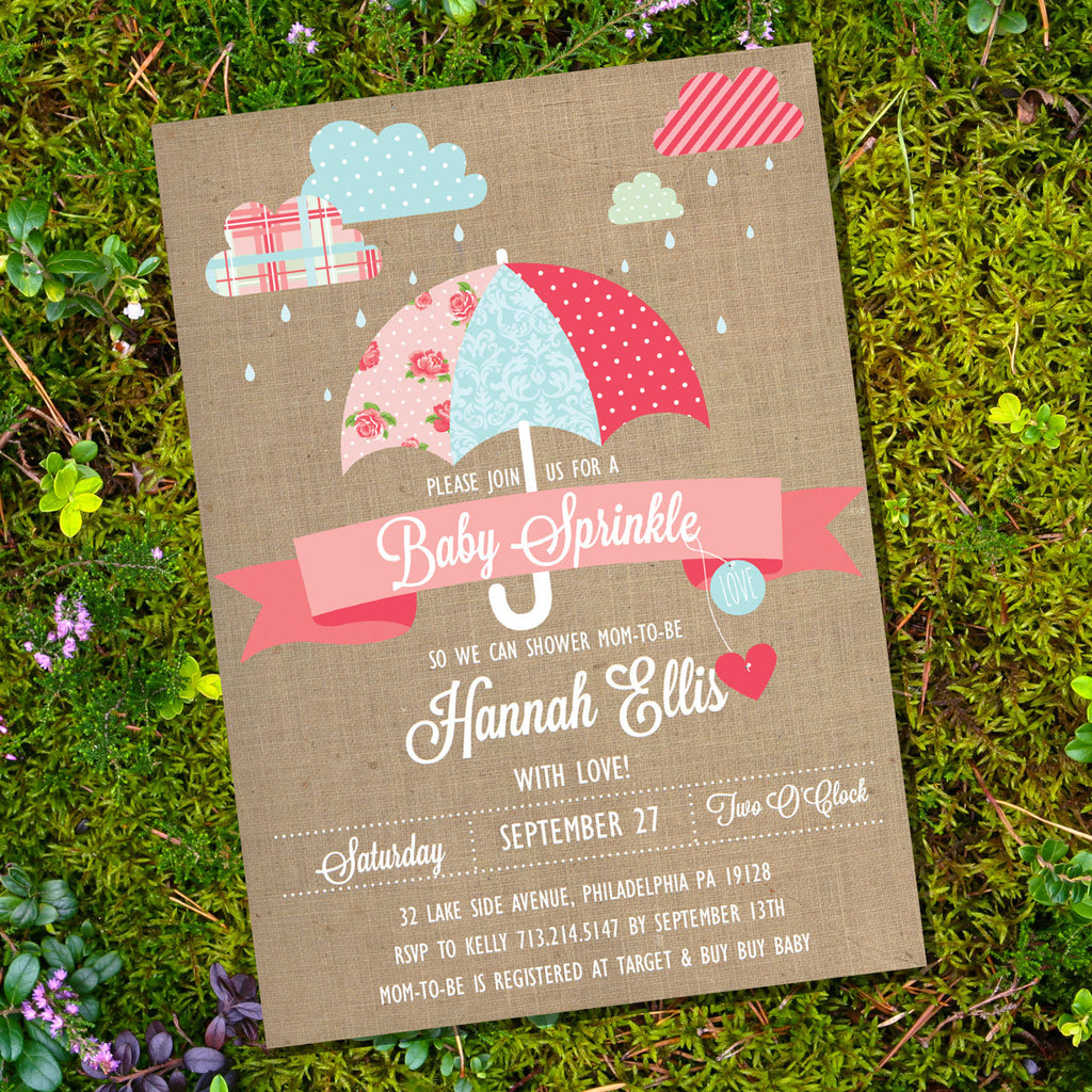 Shabby Chic Sprinkle Baby Shower Invitation For A Girl