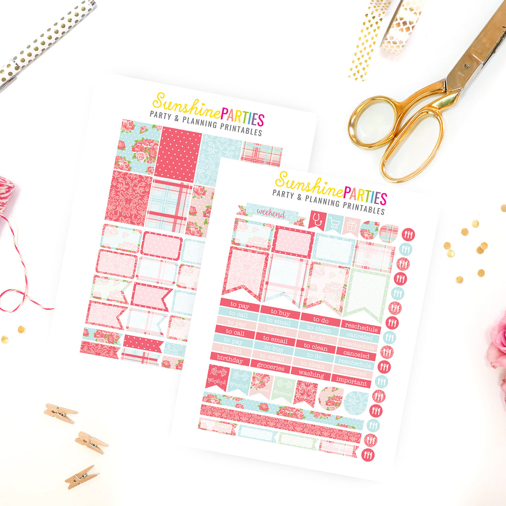 shabby chic rose planner stickers