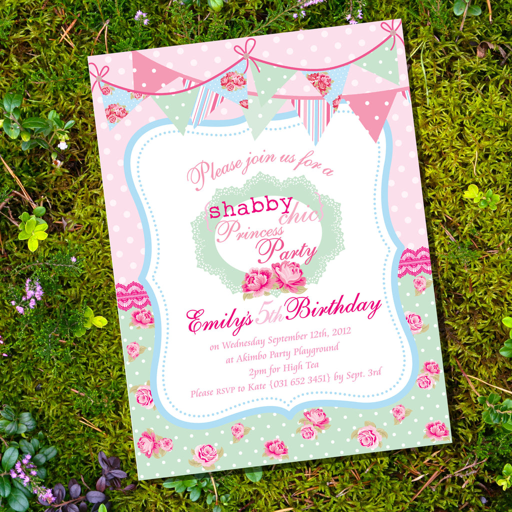 Shabby Chic Princess Birthday Party Invitation – Sunshine Parties