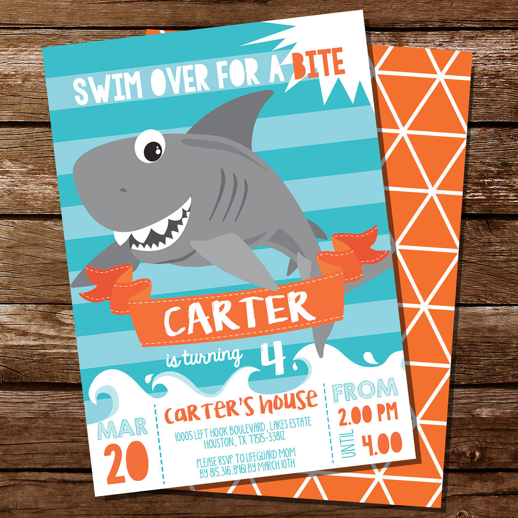 Shark Party Invitation – Shark Invitations Birthday Party