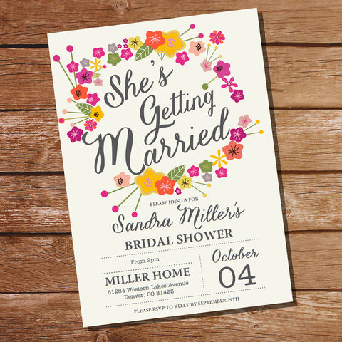 Floral Bridal Shower Invitation | She's Getting Married