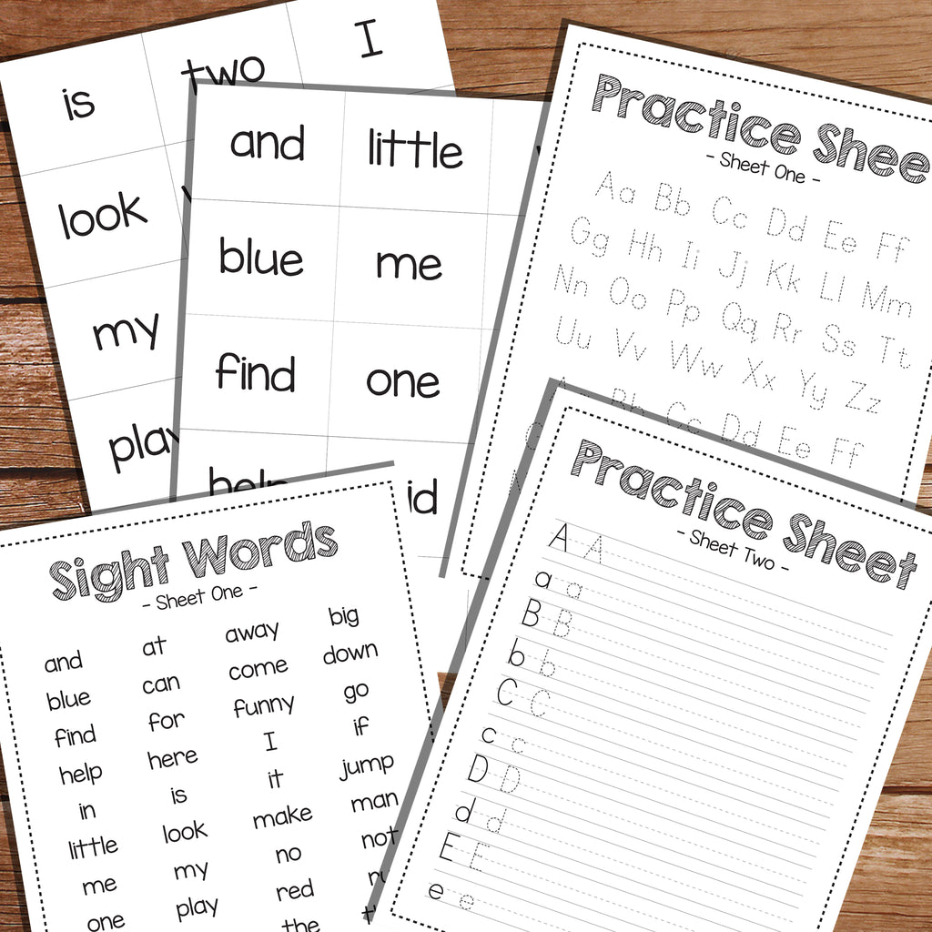 Sight word and writing practice charts for learning to read
