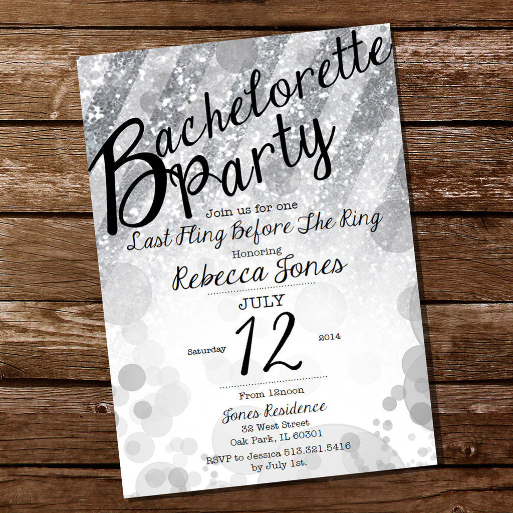 Silver Glitter Bachelorette Party Invitation