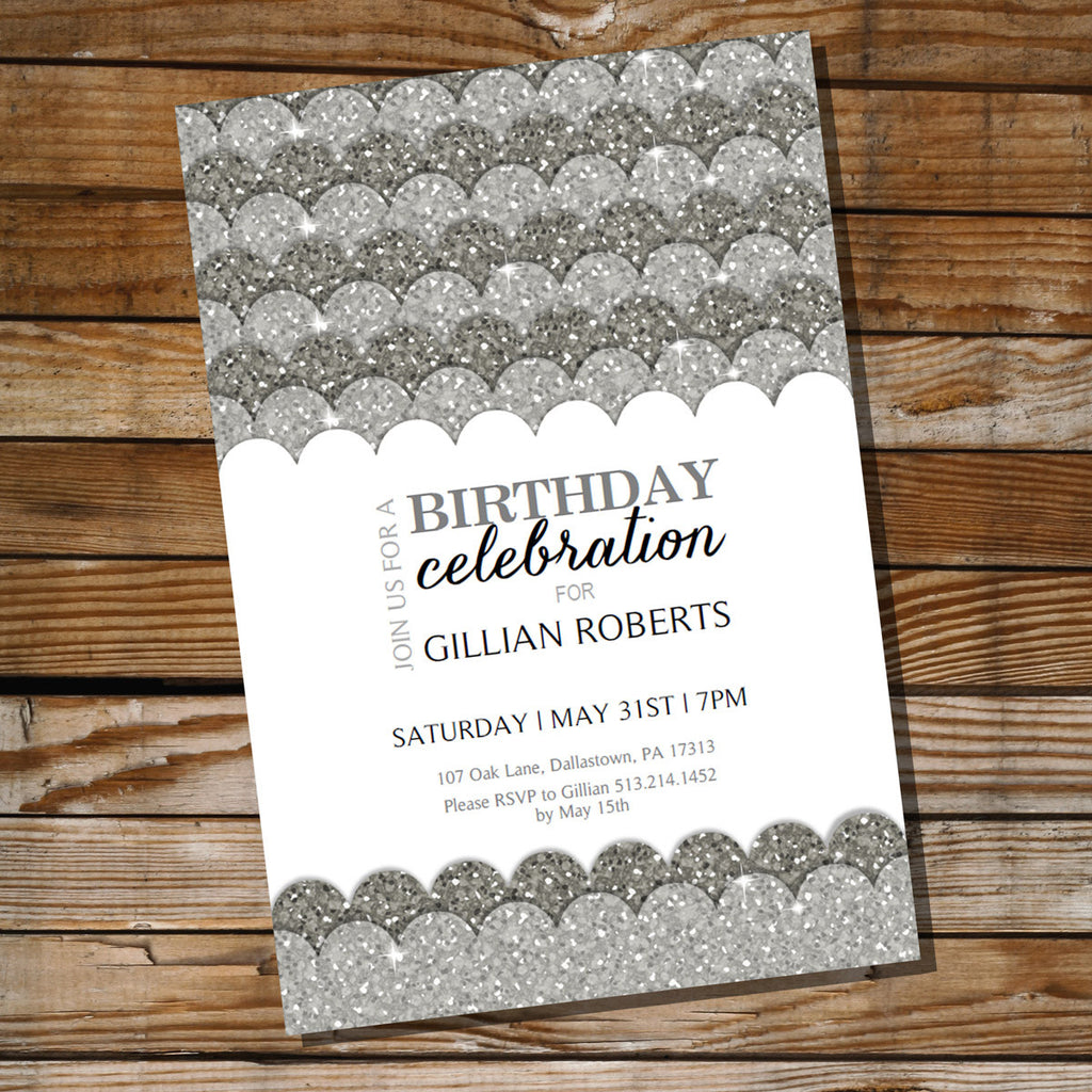 Silver Glitter Birthday Party Invitation | Black and Silver Invitation