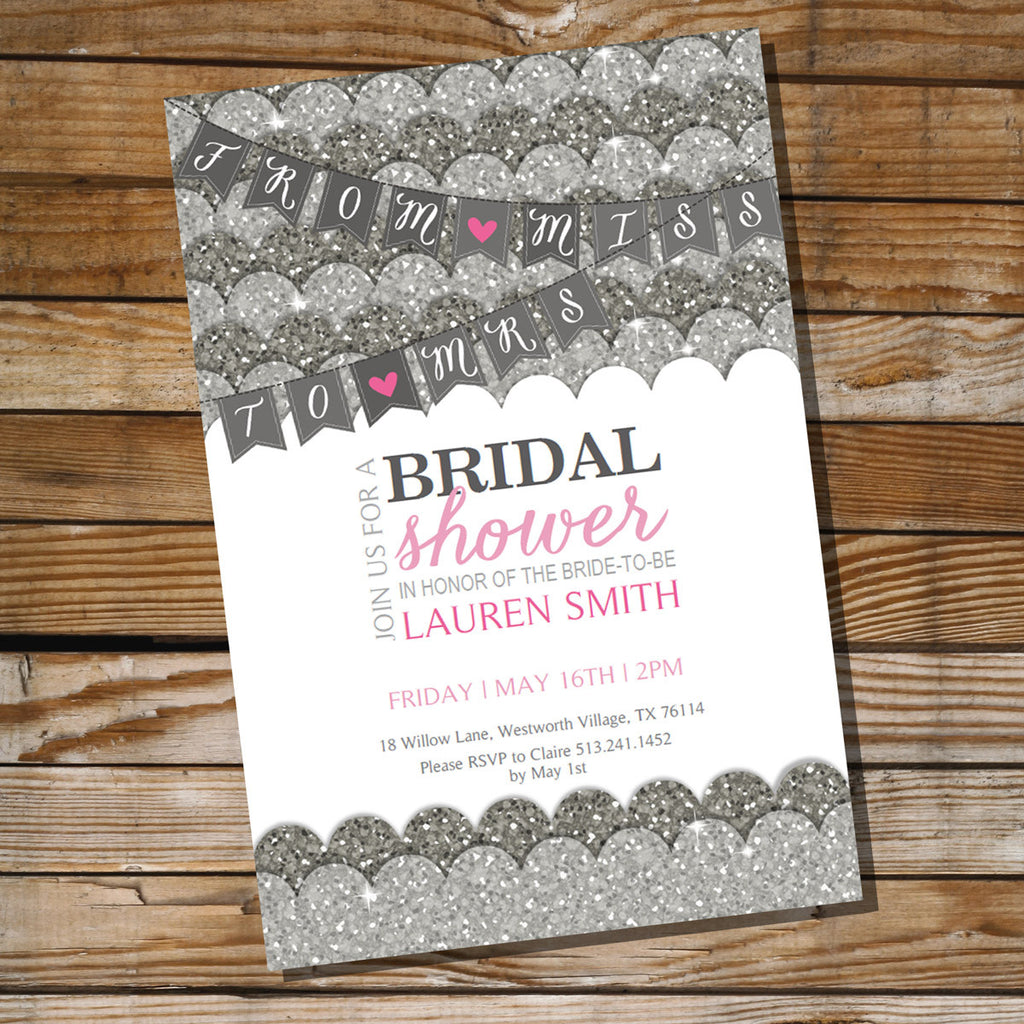 Silver Glitter and Pink Bridal Shower Invitation | Bachelorette Invitation