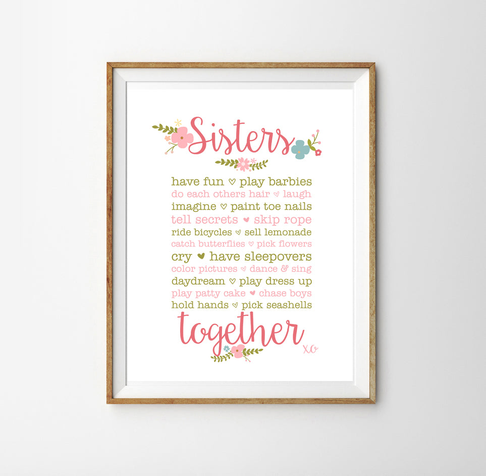 Sisters Together Poster  | Wall Decor