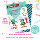 Winter Skiing Party Invitation