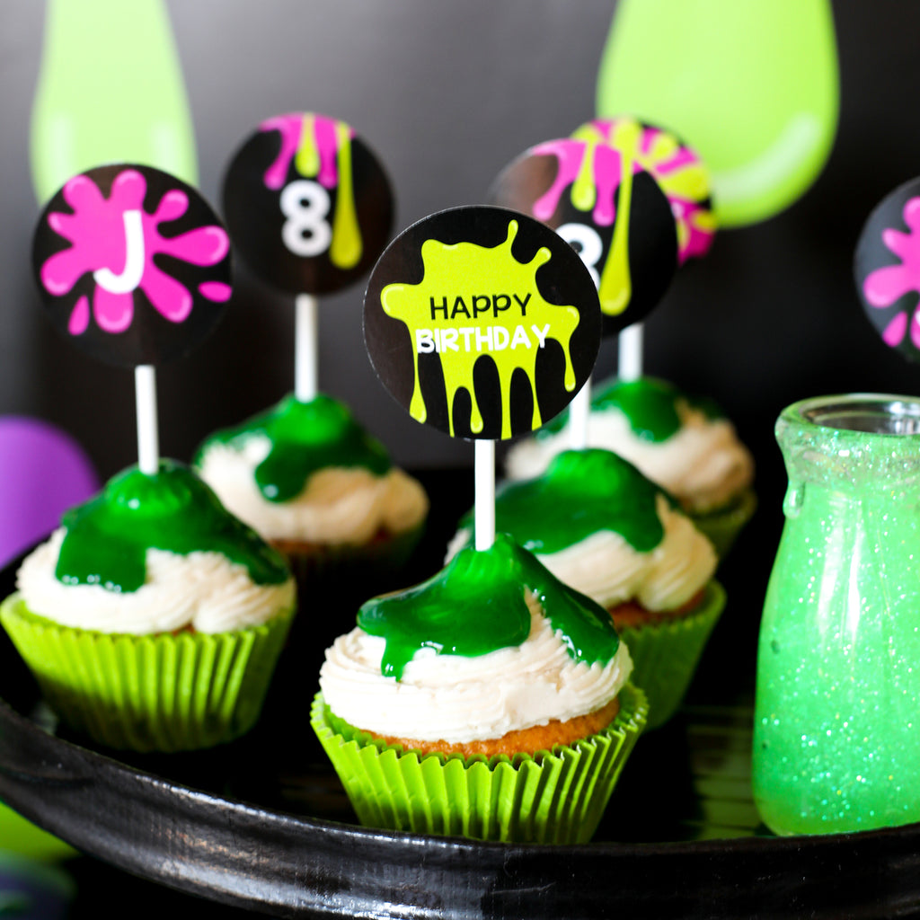 Slime Party Cupcake Toppers