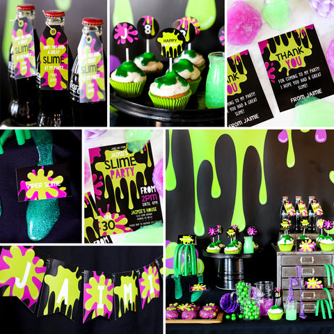 Slime Party Set | Boy or Girl Unisex Party | Invitation, Decor and More!