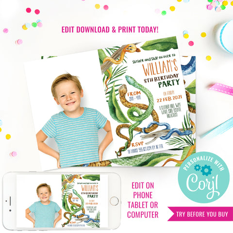 Snake Party Birthday Photo Invitation