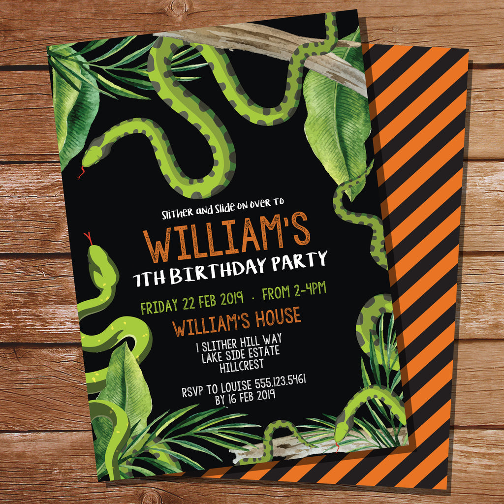 Snake Party Birthday Black Invitation | Reptile Party Black