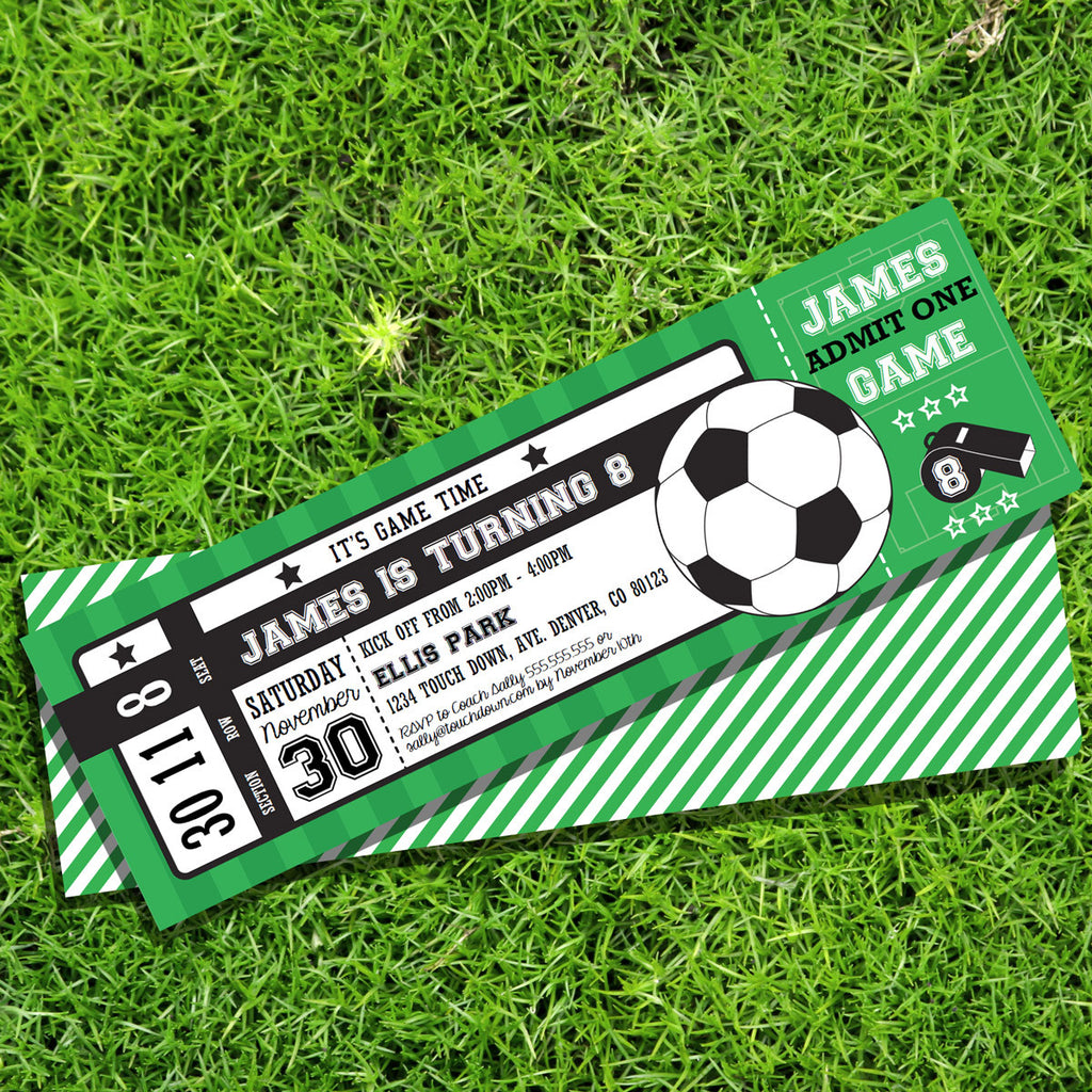 Soccer Ticket Party Invitation Create Your Own Invite Sunshine