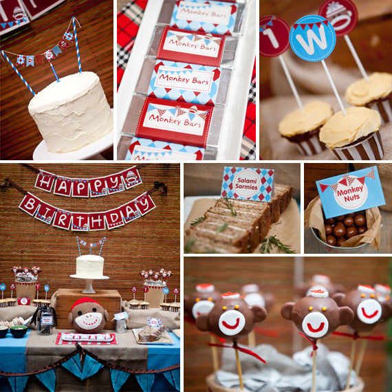 Sock Monkey Birthday Party Decorations