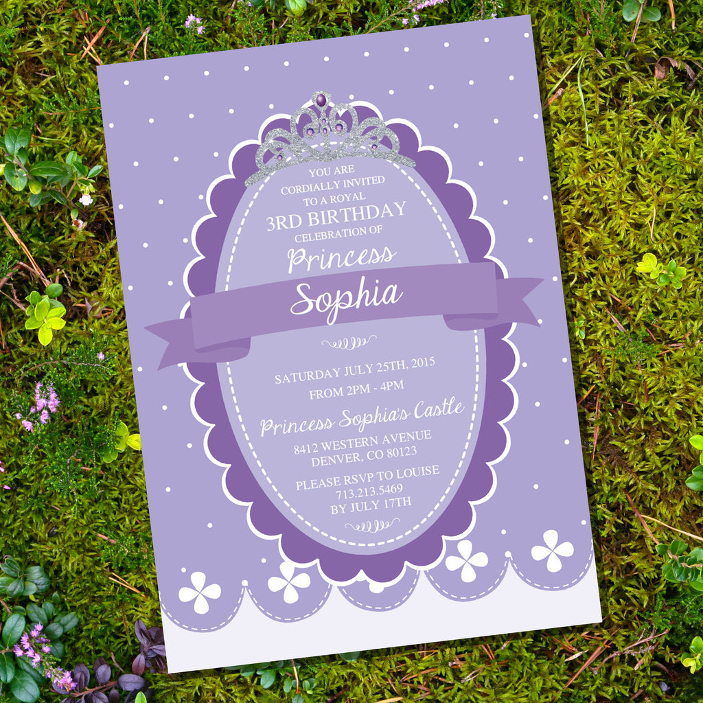 Princess Birthday Party Invitation | Purple and Silver
