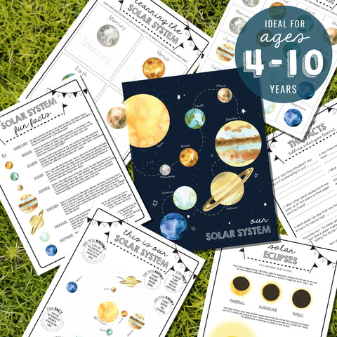 Kids space activity sheets