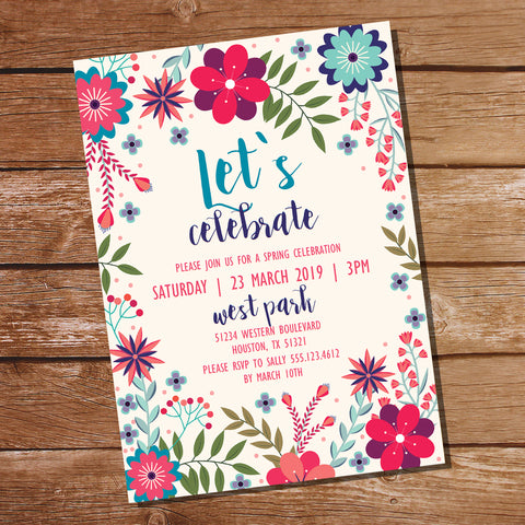 Floral Spring Party Invitation