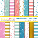 Bunny Garland SVG and Hand Cut Out Template and Spring Digital Paper Set | Easter Digital Paper Bundle
