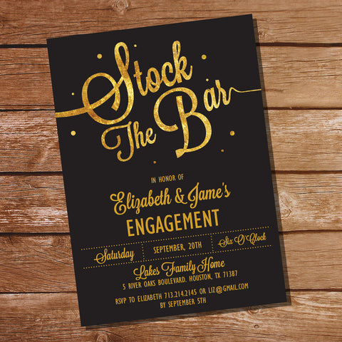 Stock The Bar Black and Gold Couples Shower Invitation