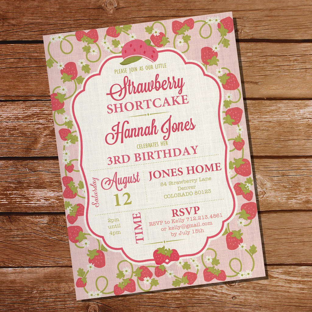 Strawberry Shortcake Party Invitation for a Girl | Vintage Strawberry Invitation