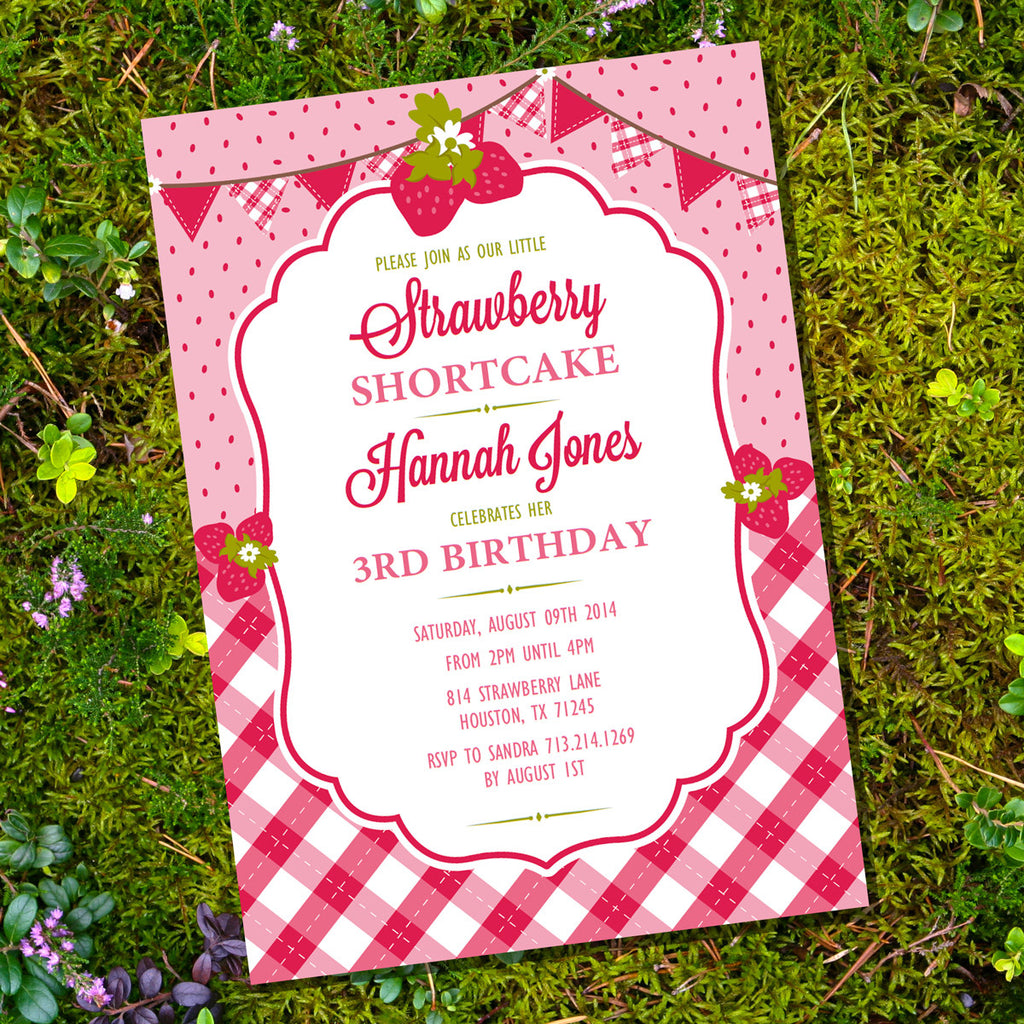 Cute Strawberry Birthday Party Invitation for a Girl