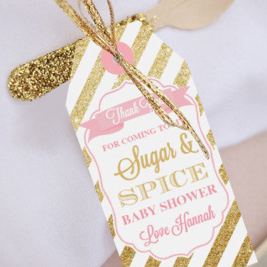 Sugar and Spice Baby Shower Favor Tags