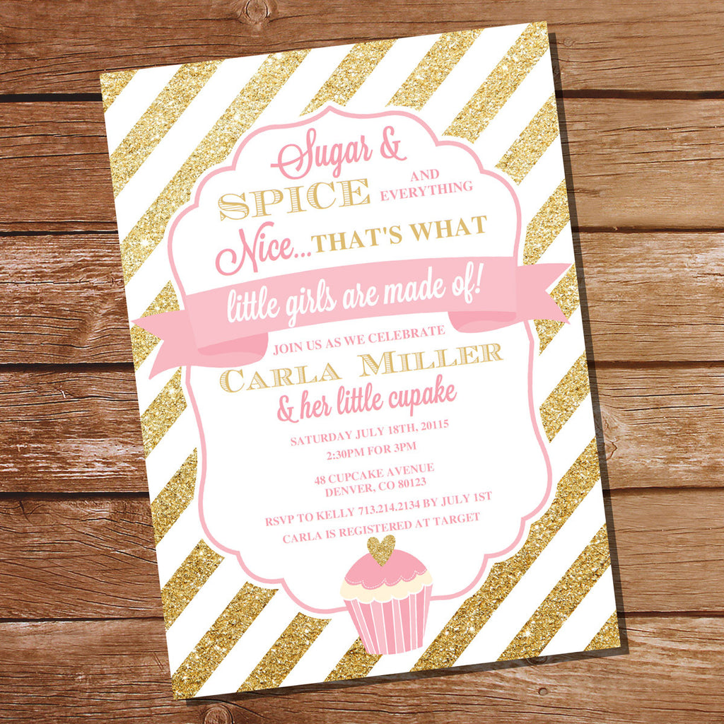 Sugar and Spice Baby Shower Invitation For A Girl – Sunshine Parties