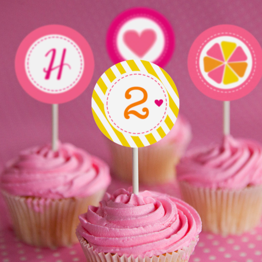 Sunshine Lemonade Birthday Party Cupcake Toppers | Lemonade Mason Jar Toppers