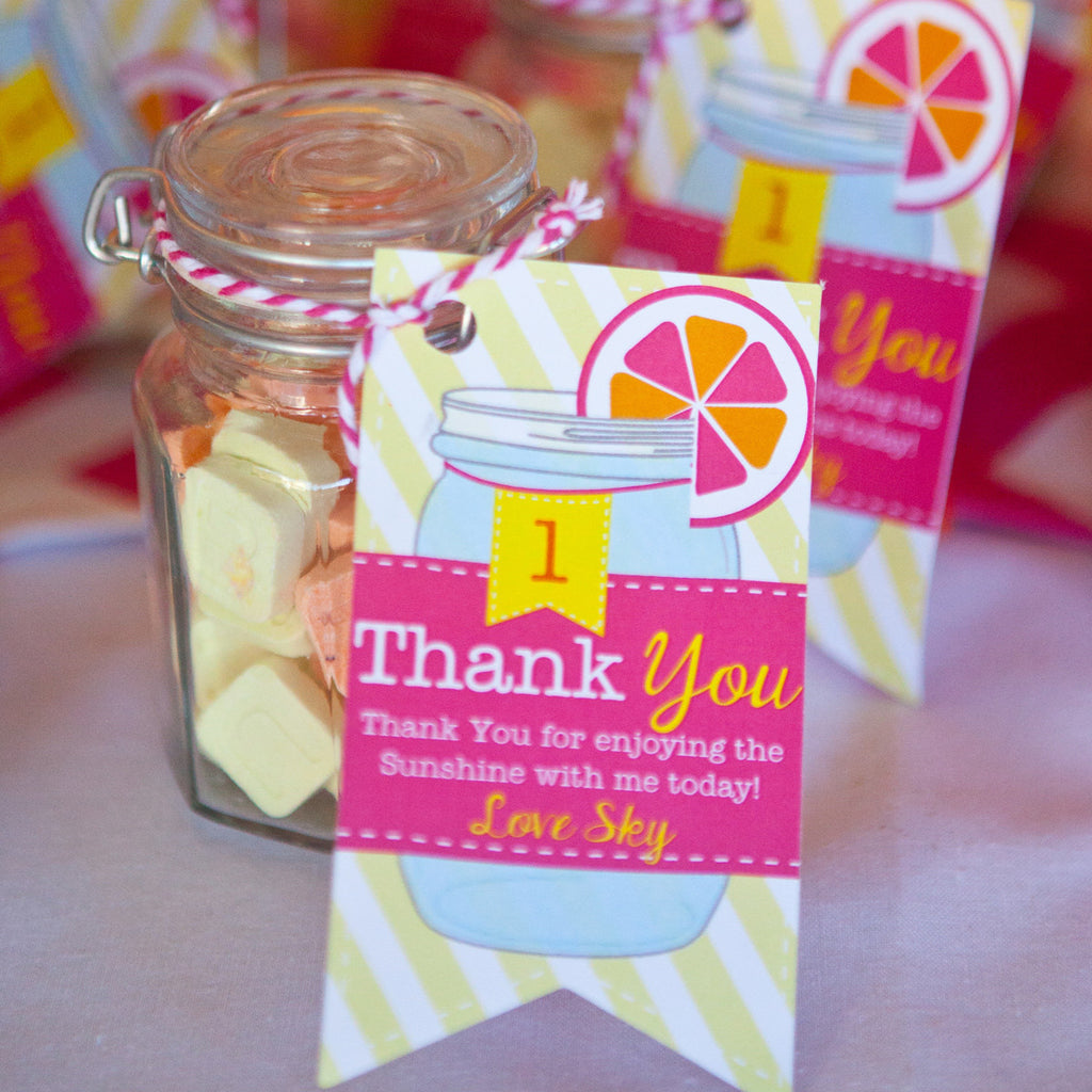 Sunshine Lemonade Birthday Party Favors | Lemonade Mason Jar Favor Tags