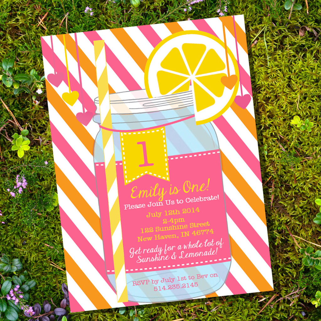 Sunshine And Lemonade Party Invitation | Lemonade Mason Jar Invite