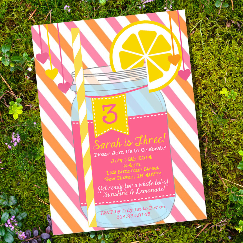 Sunshine And Lemonade Party Invitation | Pastel Lemonade Mason Jar Invite