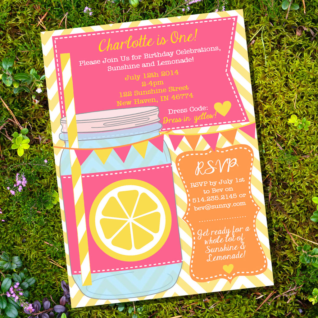 Lemonade Mason Jar Invitation | Sunshine And Lemonade Party Invite