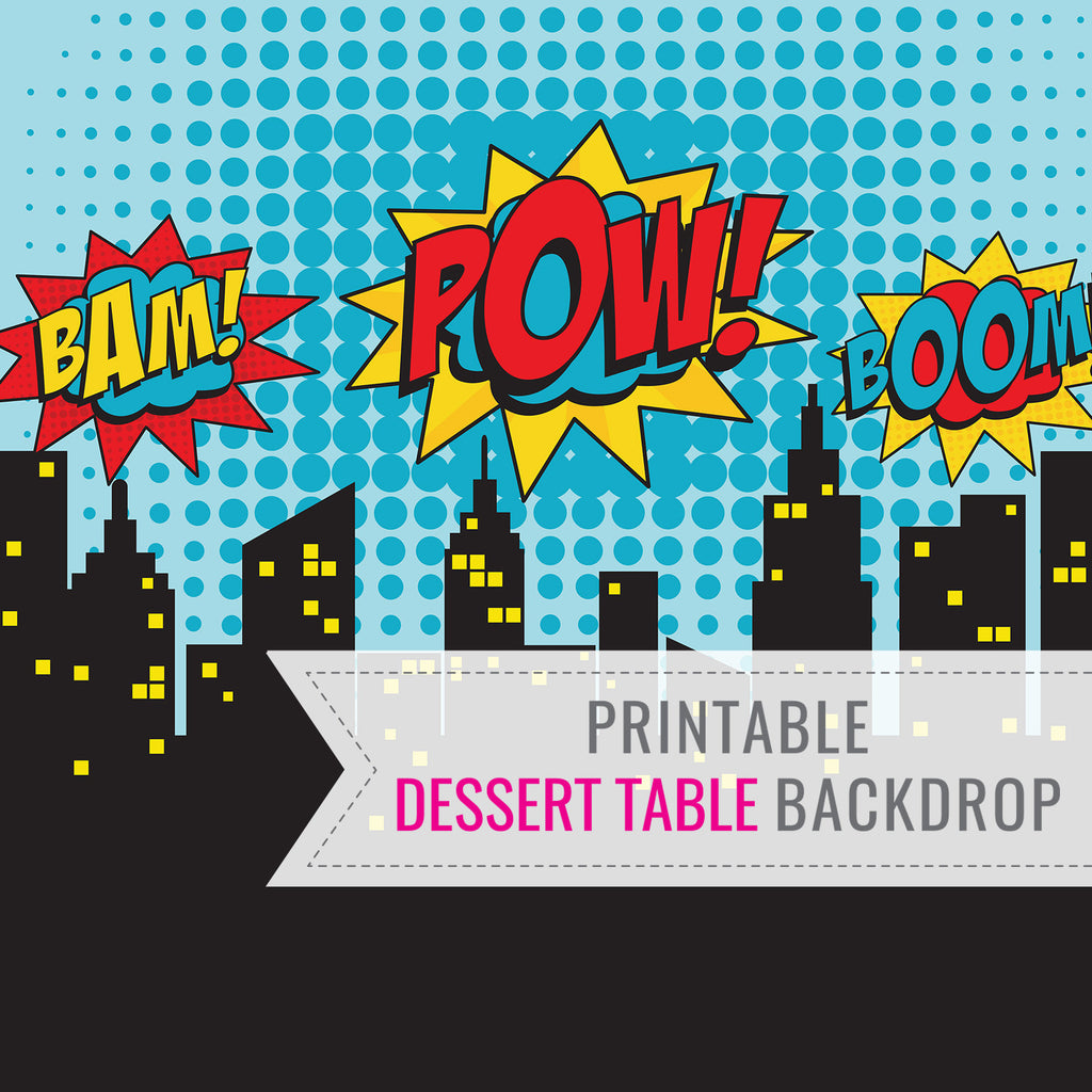 Superhero Party Backdrop | Printable Backdrop