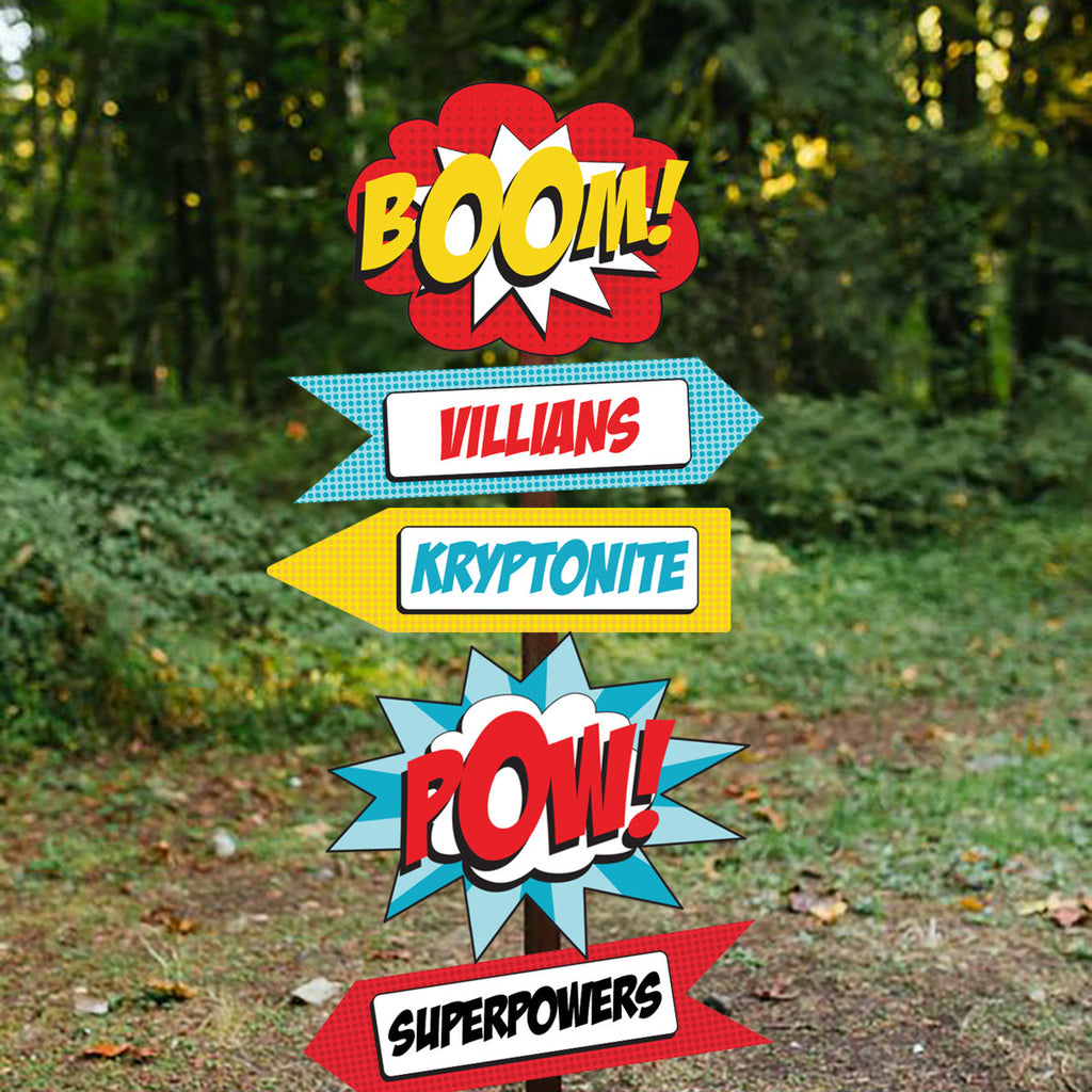 Superhero boy party directional signage - know where to go for your kryptonite!